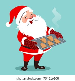 Vector cartoon illustration of cute happy Santa standing, holding baking sheet with Christmas tree shaped cookies. Christmas cooking themed design element in contemporary flat style, isolated on aqua