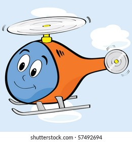 Vector cartoon illustration of a cute helicopter with a smiling face