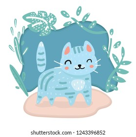Vector cartoon illustration of Cute kawaii cat character. Cute character style on dark bacground decorated by floral element.