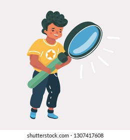 Vector cartoon illustration of Cute little boy holding and looking through magnifying, isolated over white background
