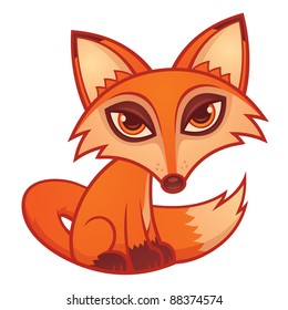 Vector cartoon illustration of a cute little red fox.