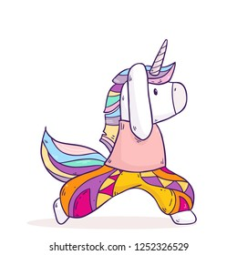 Vector cartoon illustration with cute magical unicorn doing yoga exercises and meditation isolated on background