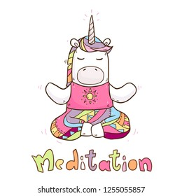 Vector cartoon illustration with cute magical unicorn doing yoga exercises with hand drawing text meditation isolated on background