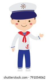 Vector cartoon illustration of cute nautical sailor boy isolated against white background