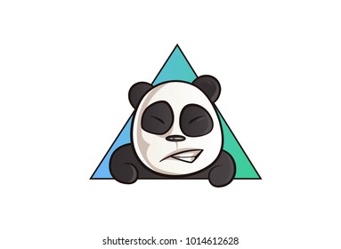 Vector cartoon illustration. Cute panda is grinning. Isolated On white background.
