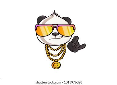Vector cartoon illustration of cute panda's thug life. Isolated on white background.