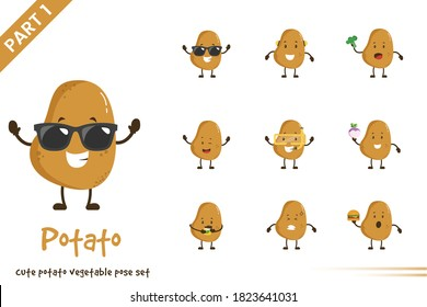 Vector cartoon illustration of cute potato vegetable poses set. Isolated on white background.