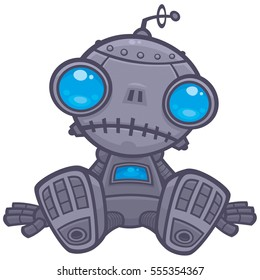 Vector cartoon illustration of a cute, but sad little robot with blue eyes sitting on the floor.