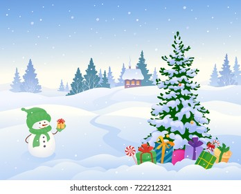 Vector cartoon illustration of a cute snowman and a Christmas tree with gifts on a snowy background