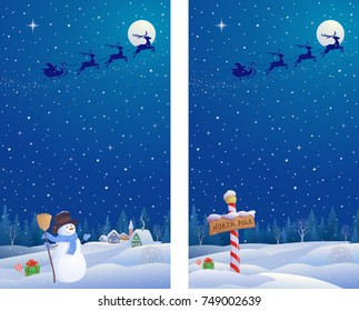 Vector cartoon illustration of cute snowman and North Pole landscapes, vertical design banners