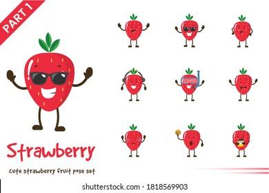 Vector cartoon illustration of cute strawberry fruit poses set. Isolated on white background.
