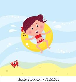 Vector cartoon illustration of cute swimming child.