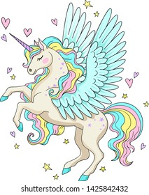 Vector cartoon illustration of cute unicorn with bird wings with stars and hearts around.