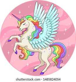 Vector cartoon illustration of cute unicorn with bird wings and rainbow mane in pink circle
