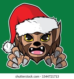 Vector cartoon illustration with Cute Werewolf Theme