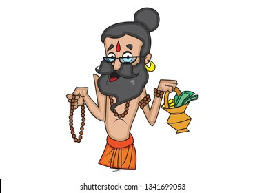 Vector cartoon illustration of data baba holding rudraksha mala and alms pot in hand. Isolated on white background.
