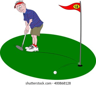 Vector cartoon illustration depicting a golfer looking dismayed, holding golf club as his golf ball hits the flagpole and bounces off.