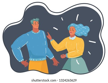 Vector cartoon illustration of depressed Couple husband and wife in quarrel dramatic concept. The accusation of his wife, divorce.