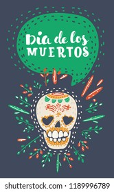Vector cartoon illustration of Dia de los muertos. Day of The Dead poster with smiling sugar festive skull, surrounded by colorful flowers, isolated on dark background.