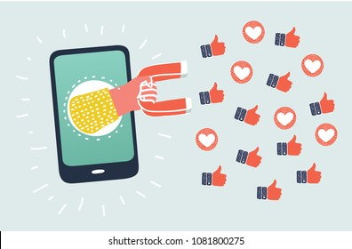 Vector cartoon illustration of digital marketing concept. Hand have appeared from the smartphone holding a magnet that attracting promotion symbols like hearts, likes, hearts.