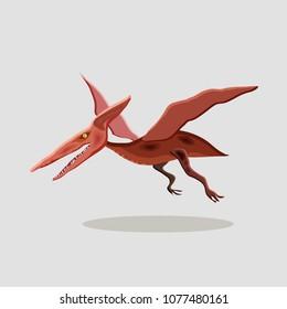 Vector cartoon  illustration of a dinosaur. Pteranodon.