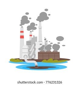 Vector cartoon illustration of dirty plant that throws waste into water. Environmental pollution concept.