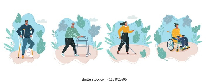 Vector cartoon illustration of Disability people set. Disabled person in wheelchair, with plaster and crunches, old man with walker, blind woman with cane. Outside background.