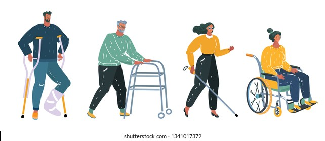 Vector cartoon illustration of Disabled handicapped people. Disabled person in wheelchair, with plaster and crunches, old man with walker, blind woman with cane. White background.