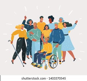 Vector cartoon illustration of Disabled people, handicapped characters volunteers, diverse students, disabled girl in wheelchair, blind woman. Friends together. Group of people on white background.