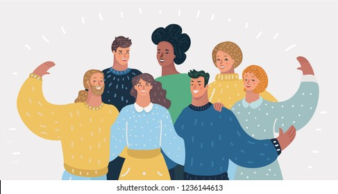 Vector cartoon illustration of Diverse global people teamwork of different cultures. Happy women and men in modern. Friends, coworkers or relatives character on White isolated background.