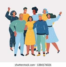 Vector cartoon illustration of Diverse Group of People Together Portrait on white background.