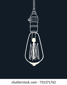 Vector cartoon illustration of drawing of an Edison Lightbulb on black background. Outline hand drawn object.