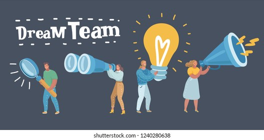 Vector cartoon illustration of dream team. Marketing, HR, SMM, Researching, creators, testers. Different workers, group. Human characters on dark background.