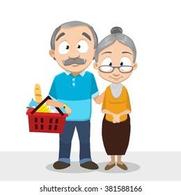 Vector cartoon illustration of elder people buying foods in grocery store