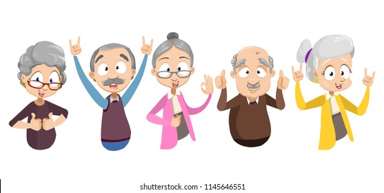 Vector cartoon illustration of elder senior people showing different gestures. Old people emotions and expressions. Isolated on white background