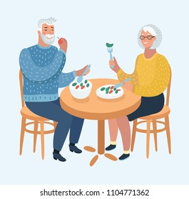 Vector cartoon illustration of an Elderly Couple Eating at a Fine Dining Restaurant or caffe. Human characters on white background.