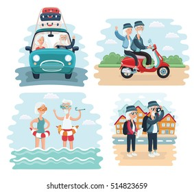 Vector cartoon illustration of Elderly Couple Traveling Together scene. By car, riding on scooter, take photo of sights and splashing in the sea on resort