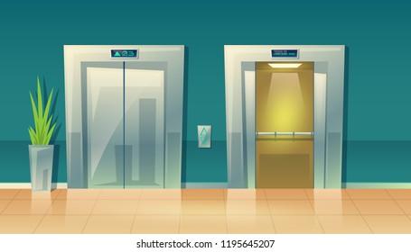 Vector cartoon illustration of empty hallway with elevators - closed doors and open. Modern interior of skyscraper, building. Metallic grey lift, steel frame. Tile floor in vestibule.