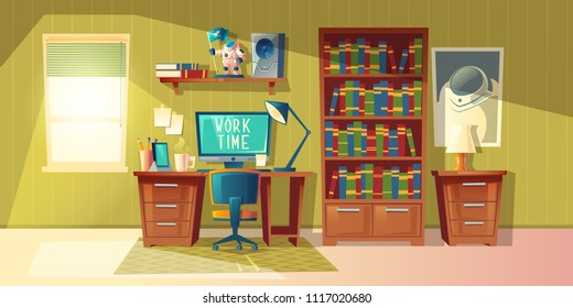 Vector cartoon illustration of empty home office with bookcase, modern interior with furniture. Computer, lamp on table. Work time concept, cozy room for freelance job or education