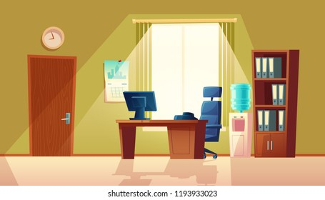 Vector cartoon illustration of empty office with window, modern interior with furniture. Computer on wooden table, folders in closet and black chair. Workplace concept, business area in room.