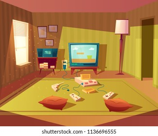 Vector cartoon illustration of empty playroom for children with game console, tv screen and joysticks. Kids room for leisure and fun, interior with furniture, green carpet, walls, floor lamp