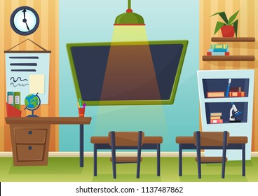 Vector cartoon illustration of empty school classroom with chalkboard and desks.