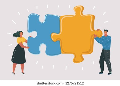 Vector cartoon illustration of Engaged puzzle. Couple concept. Relationship, friendship or coworkers. Man and woman on white isolated background.