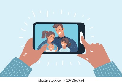 Vector cartoon illustration of Family call concept. Young family with 2 kids are having video call using the smartphone. Human hand hold device. Chat.