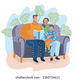Vector cartoon illustration of Family. Mom, dad and son reading story book together sitting on the couch. Happy parents with their kid. Human characters.