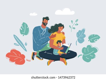 Vector cartoon illustration of a Family Reading a Book Together. Father, mother and their son. Human characters on white bacgkround.