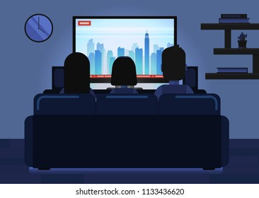 Vector cartoon illustration of family sitting on sofa in living room and watching tv at night