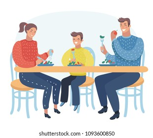 Vector cartoon illustration of Family take meal around table. Happy daddy, mom and their son sitting together on lunch in home or cafe. Young Parents and children smile and laughing.