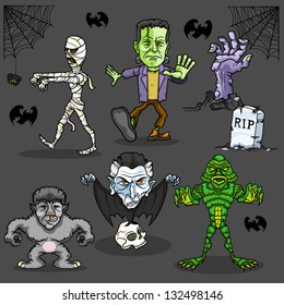 Vector cartoon illustration of famous monsters