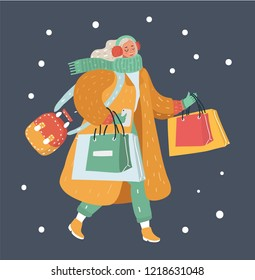 Vector cartoon illustration of fashion winter woman with shopping bags on dark background.